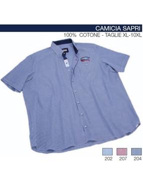 Immagine di Camicia mezza manica Maxfort rigatino ricamo SAPRI