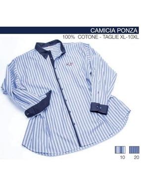 Immagine di Camicia PONZA manica lunga Maxfort rigata contrasti