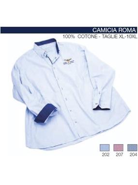 Immagine di Camicia Roma manica lunga Maxfort rigatina ricamo