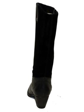 Picture of Stivale a gamba larga in pelle e in scamosciato marrone